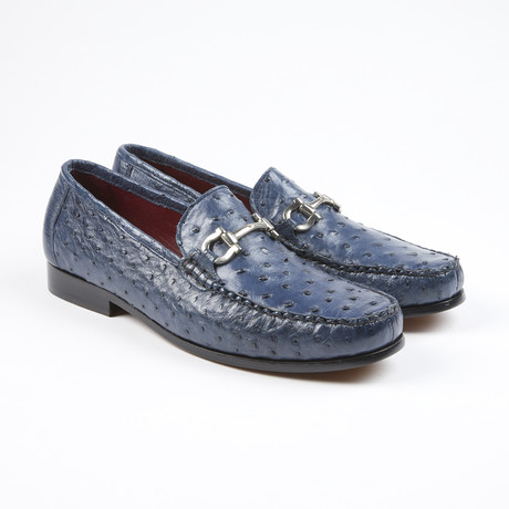 Struzzo Ostrich Leather Loafer // Navy (US: 7.5)