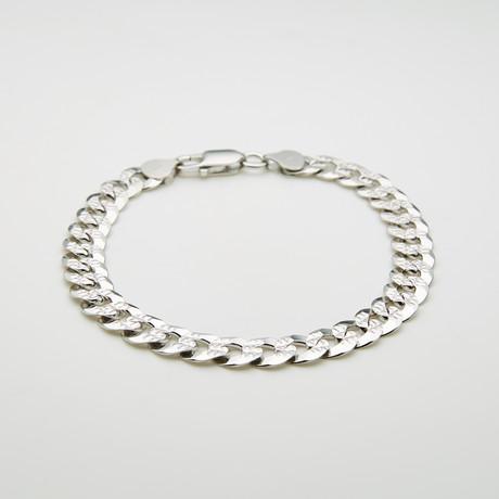 "Thick Diamond Cut Cuban Chain Bracelet // 8.5""L"