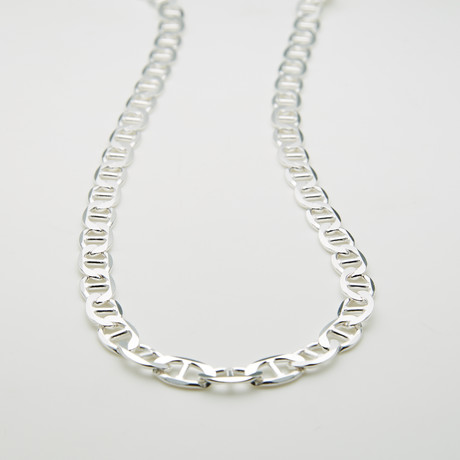 "Solid Sterling Silver Thick Mariner Chain Necklace // 6.5mm (20"")"
