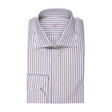 Isaia // Sergio Striped Dress Shirt // Brown (US: 15R)