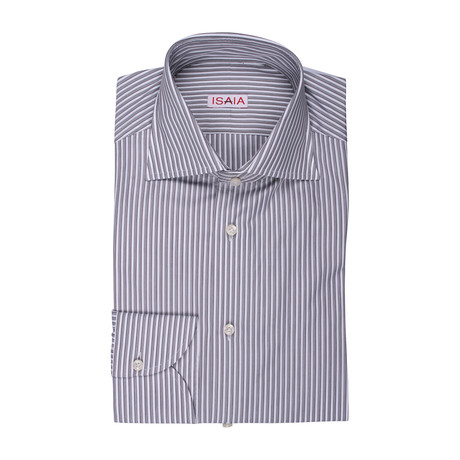 Isaia // Pia Striped Dress Shirt // Gray (US: 15R)