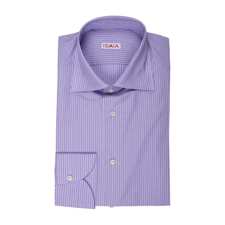Giovanna Striped Dress Shirt // Purple + White (US: 15R)