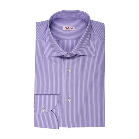 Isaia // Giovanna Striped Dress Shirt // Purple + White (US: 15R)