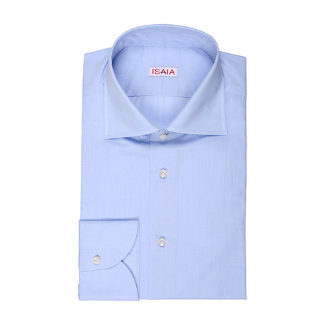 Isaia // Marcelo Solid Dress Shirt // Blue (US: 15R)