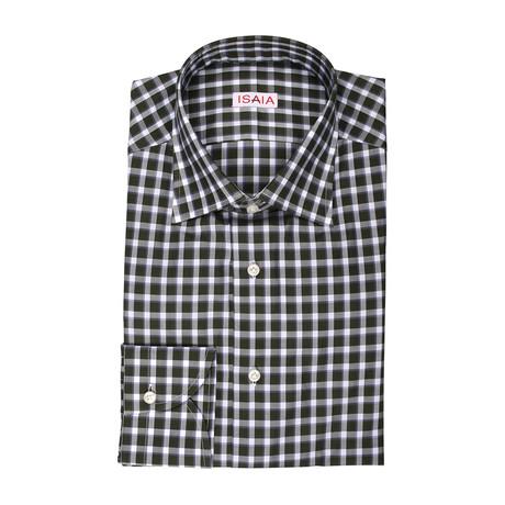 Isaia // Gateana Checked Dress Shirt // Olive (US: 15R)