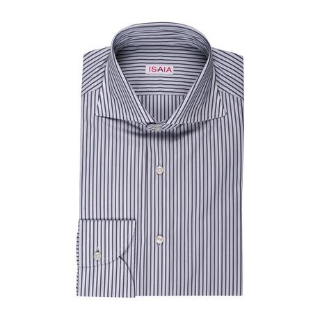 Isaia // Luciano Striped Dress Shirt // Gray (US: 15R)