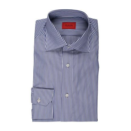 Isaia // Montes Striped Dress Shirt // Blue (US: 15R)