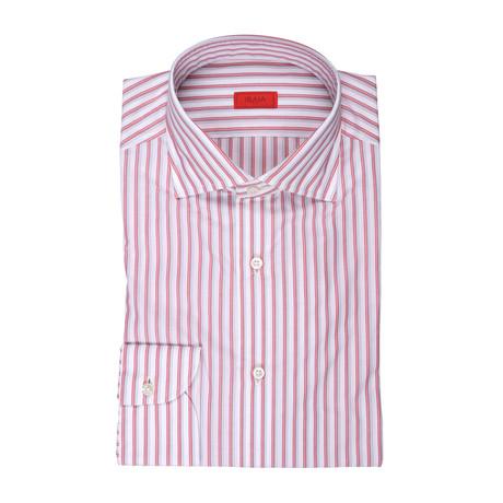 Isaia // Aldo Striped Dress Shirt // Red (US: 15R)