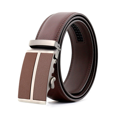 Bart Leather Belt // Silver + Brown Buckle