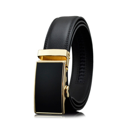 Cameron Leather Belt // Black + Gold Buckle
