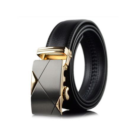 Nolan Leather Belt // Black + Gold Buckle