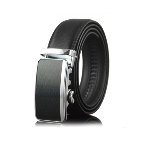 Tony Leather Belt // Black + Silver Buckle