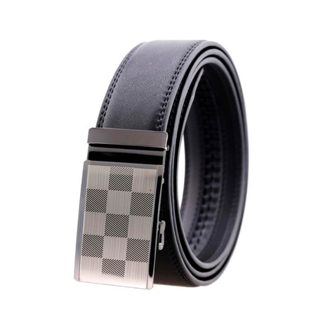 Michael Leather Belt // Silver Checkered Buckle