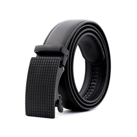 Scott Leather Belt // Black Textured Matte Buckle