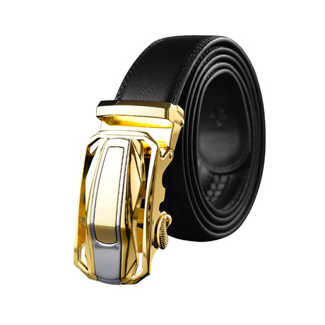 Dan Leather Belt // Black Belt + Gold Buckle