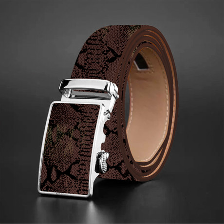 Liam Snake Skin Belt // Brown