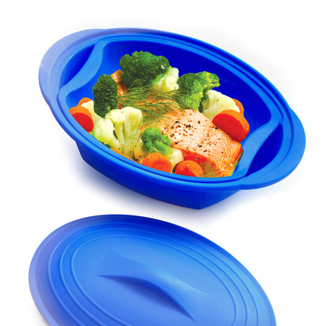 Set of 2 Silicone Cookers with Steamer // Blue