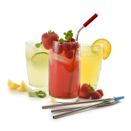 Stainless Steel Silicone Tipped Straws // Set of 8