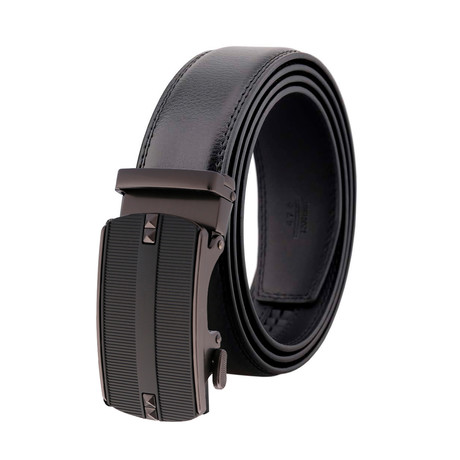 Dave Leather Belt // Black Belt + Black Buckle