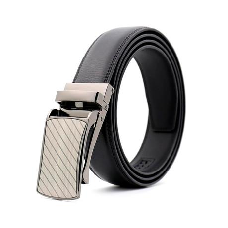 Patrick Leather Belt // Black Belt + Silver Buckle