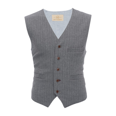 Albert Stretch Pinstripe Vest // Gray (XS)