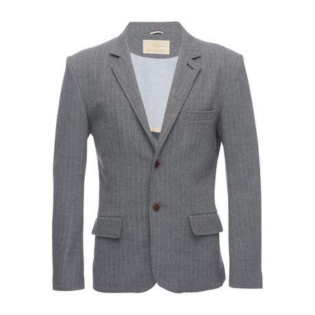 Kurt Notched Pinstripe Lapel Stretch Blazer // Gray (XS)