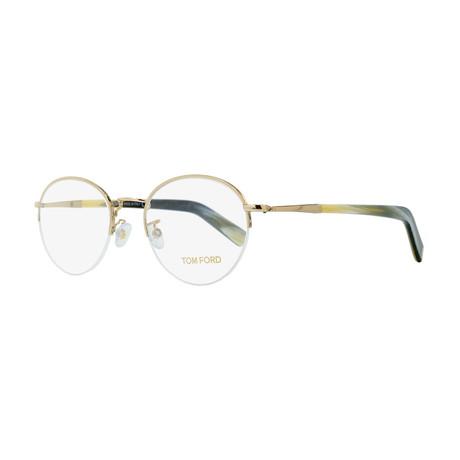 03187ef065 Unisex    Round Eyeglasses    Gold + Buffalo Horn