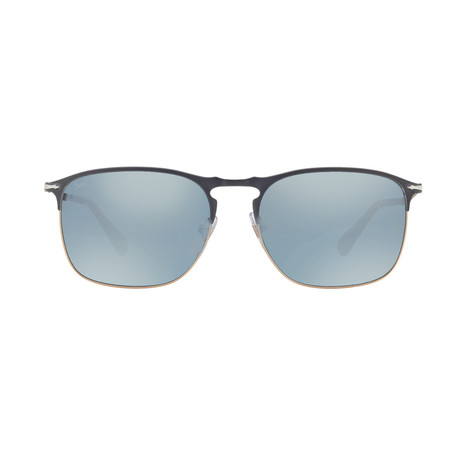 Metal Rectangle Sunglasses // Dark Blue + Silver Mirror Lenses