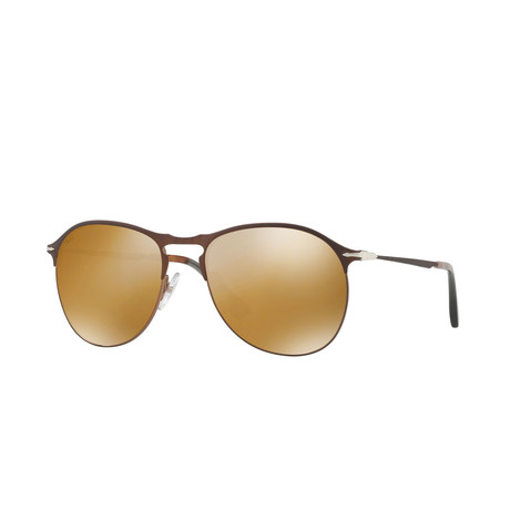 Persol Men's Teardrop Aviator Sunglasses // Brown + Gold Mirror Lenses (53mm)