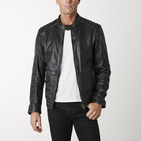 Racer Leather Jacket // Black + Beige (XS)