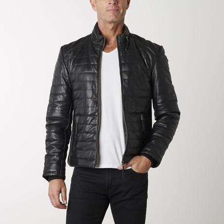 Puffer Leather Jacket // Black (XS)