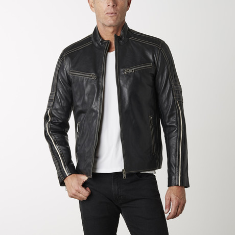 Biker Leather Jacket II // Black (XS)