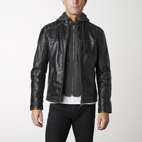 Leather Jacket + Removable Hood // Black + Beige (XS)