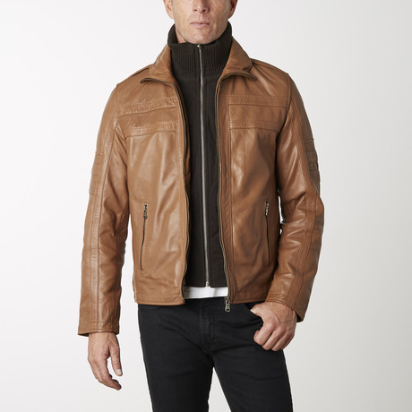 Leather Jacket + Removable Collar // Cognac (XS)