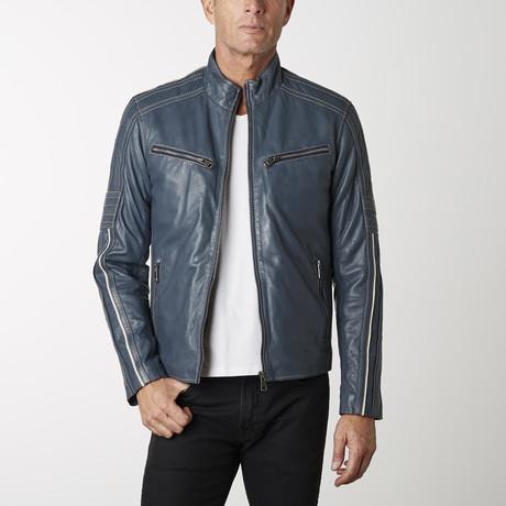 Biker Leather Jacket II // Blue (XS)