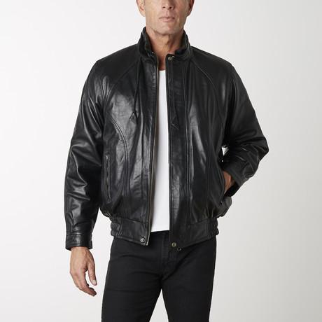 Classic Leather Bomber Jacket // Black (XS)