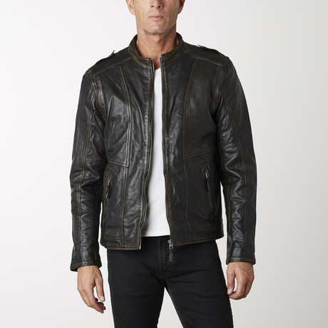 Two-Tone Leather Bomber Jacket // Black + Brown (XS)