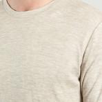 Round Neck Cotton + Wool T-Shirt // Beige Chine (XS)
