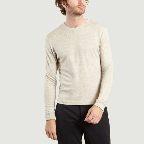 Round Neck Cotton + Wool T-Shirt // Beige Chine (XS)