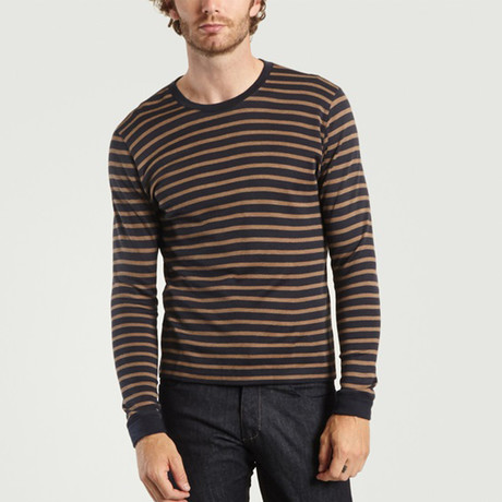 Round Neck Cotton + Wool T-Shirt // Stripes Navy + Brown (XS)
