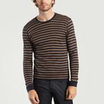Round Neck Cotton + Wool T-Shirt // Stripes Navy + Brown (XS)