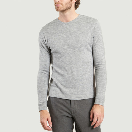 Round Neck Cotton + Wool T-Shirt // Grey Chine (XS)