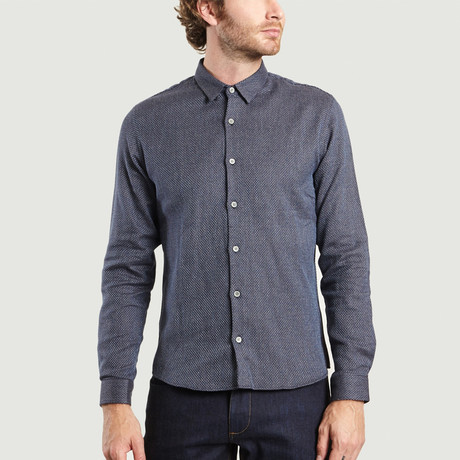 Hidden Buttons Shirt // Blue + Brown (XS)
