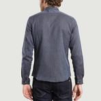 Hidden Buttons Shirt // Blue + Brown (XS)