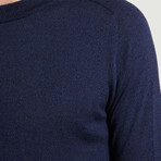 Round Collar Knit Sweater // Blue (XS)
