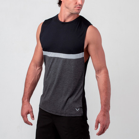 Uppercut Training Muscle Tank // Black + Grey (S)