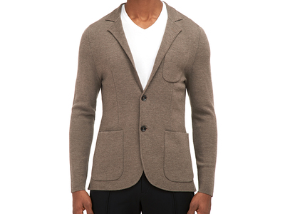 Photo of EFM Contemporary Active Street Style Hull Knitted Blazer // Brown (US: 40) by Touch Of Modern