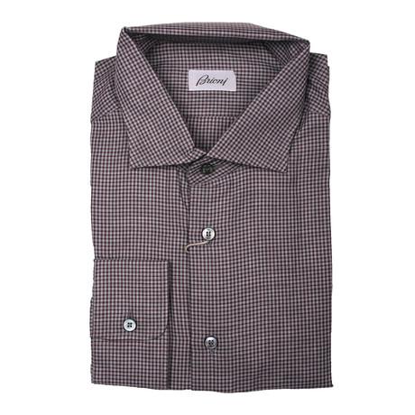 Brioni // Fergus Geometric Shirt // Maroon (Euro: 39)