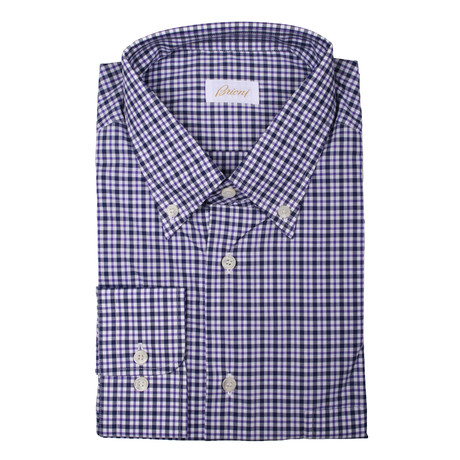 Brioni // Hamish Plaid Drees Shirt // Purple (Euro: 39)