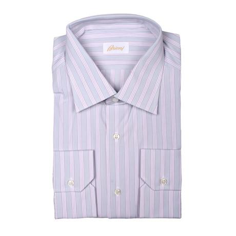 Brioni // Theodore Dress Shirt // Lavender + Gray (Euro: 39)